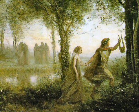 Orpheus Leading Eurydice Back to Earth - Camille Corot